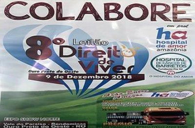 Oitava edição do Leilão Direito de Viver acontece amanhã em Ouro Preto do Oeste