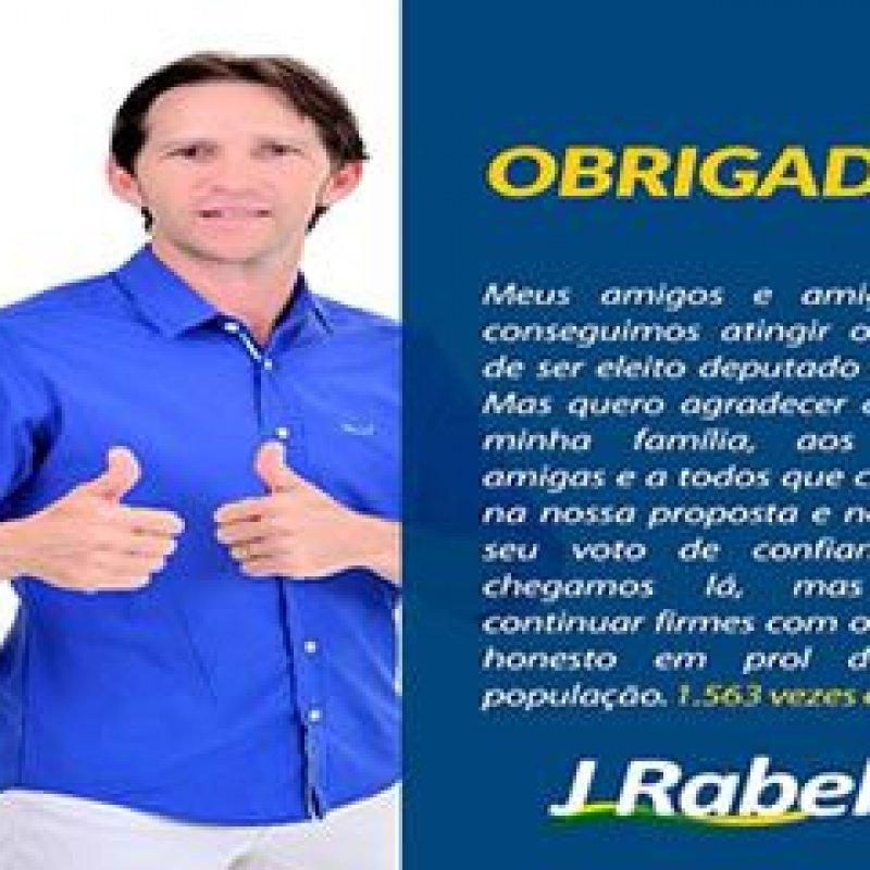 J. Rabelo agradece votação que obteve como candidato a deputado estadual