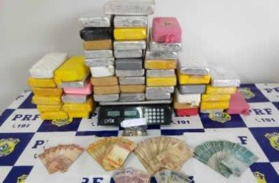 PRF prende cadeirante e comparsa com 54 quilos de cocaína na BR 364