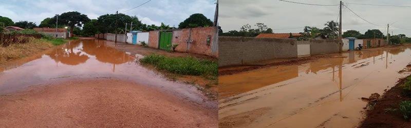 Rua alagada revolta moradores em Ouro Preto do Oeste