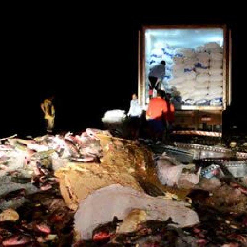 Carreta derrama 30 toneladas de peixe e populares saqueiam quase metade da carga