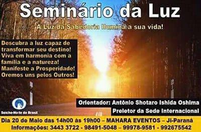 Seicho-No-Ie promove Seminário da Luz neste domingo, em Ji-Paraná