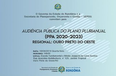 Ouro Preto: definição das políticas públicas do Estado será debatida durante audiência pública