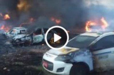 Vídeo mostra gravidade de incêndio no Denarc da Capital